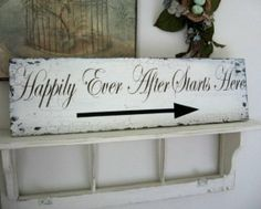 HAPPILY EVER AFTER Starts Here with Arrow 32 x 8 1/2 Shabby Wedding Ceremony Signs