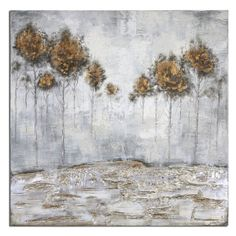 Frameless, hand painted artwork on canvas. The canvas has been stretched and attached to wooden stretching bars. Due to the handcrafted nature of this artwork, each piece may have subtle differences.