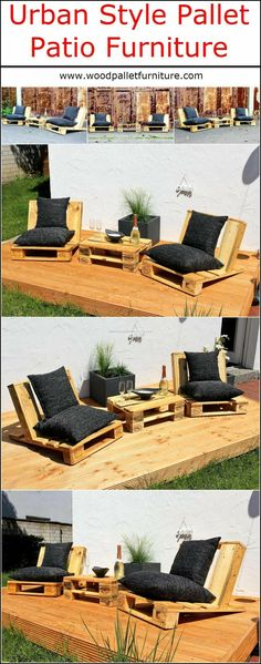There are many attractive styles to create the patio furniture, but the urban style reclaimed wood pallet patio furniture looks amazing. Those who love to enjoy the time sitting on the patio with the friends should consider this idea because it not only Pallet Crafts, Diy Pallet Projects, Outdoor Projects, Pallet Ideas, Outdoor Decor, Pallet Patio Furniture, Pallet Chair, Garden Furniture, Wood Furniture