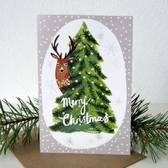 Deer Christmas Card by @stephaniecoleDESIGN, £2.25 #illustration #greetings #card #christmas #festive #holiday #deer #animal #woodland #tree #snow