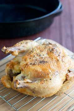 A whole chicken that was roasted from frozen