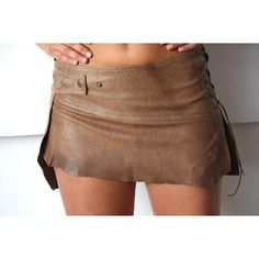 sexy leather skirt, burning man outfit, brown mini skirt, tribal... ($139) ❤…