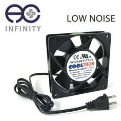 115V AC Cooling Fan. 120mm x 25mm LS with Power Plug by AC Infinity. $17.49. Overview The low speed 120 by 120 by 25 millimeter 115V AC axial fan is housed in die cast aluminum with thermoplastic blades. Containing long life dual ball bearings, the fan can run continuously for 67,000 hours and be mounted in any direction. Includes a 4 foot power cord which allows the fan to be plugged into a standard outlet. Cooltron fans are certified by CE, UL, TUV, and RoHS; and found ...