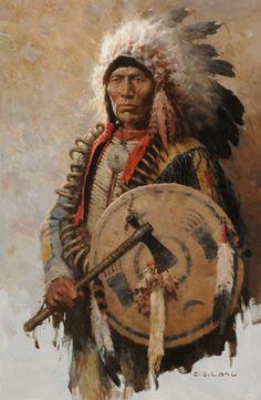 z's liang artist | Liang, Lakota War Chief, oil, 36 x 24.