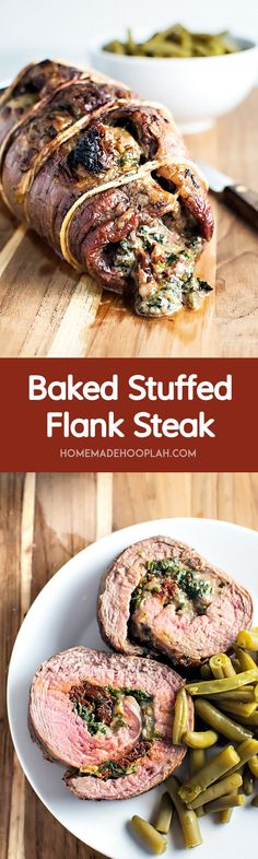 Baked Stuffed Flank Steak! Spice up your boring steak dinner by filling a fine cut of meat with spinach, mozzarella, and sun dried tomatoes. It's easy to tailor to your tastes, too! | HomemadeHooplah.com
