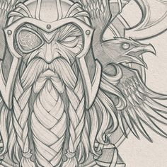 sketches design Odin's Ravens // Pencils for a cool collaboration project in the works. Art Viking, Viking Symbols, Viking Warrior, Viking Raven, Norse Tattoo, Viking Tattoos, Armor Tattoo, Tattoo Symbols, Raabe Tattoo