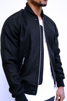 Black Full Wool Raglan Varsity by MKI