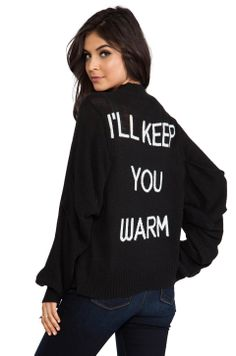 Cute!! Wildfox Couture The Bonfire Ill Keep You Warm Cardigan in Dirty Black