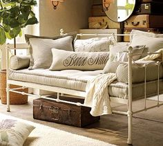 French mattress - Savannah metal daybed with French mattress - Pottery Barn via Atticmag Daybed Couch, Daybed Room, Daybed Mattress, Upholstered Daybed, Daybed With Trundle, Bedroom Nook, Upstairs Bedroom, Couch Cushions, Metal Daybed