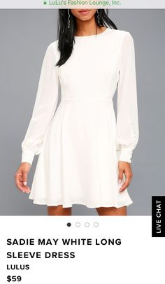 Konfirmationskjole 2019 lulus.com Skater Dress, I Dress, Dress Outfits, White Dresses For Women, Girls Dresses, Lulu Fashion, Dress Collection, Casual Wear, Hair Beauty