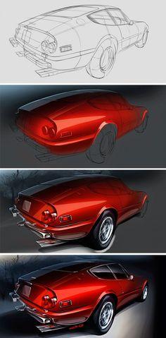 Ferrari Daytona Illustration Process Design Sketch by Grigory Bars - Car Body Design via www.cgpin.com