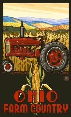 "Northwest Art Mall PAL-3013 TPC Ohio Farm Country Tractor Profile Corn 11""X17"" Print by Artist Paul A. Lanquist"