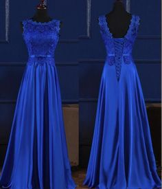 Blue Satin and Lace Charming Evening Party Dress, Beautiful Prom Gown 2019