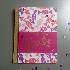 Birthday card Candy stamp: Perlenfischer Word stamp: Create a smile Ink: Simonsaysstamp Sequins: Pretty Pink Posh