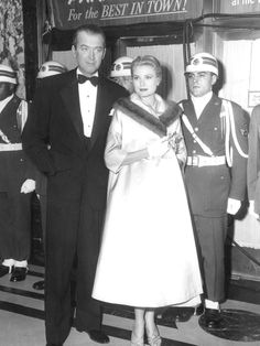 Jimmy Stewart with Grace Kelly at the premiere of Strategic Air Command, 1955