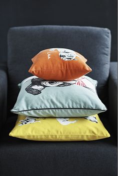 A pile of colourful cushions with dogs on them - perfect for you or you pooch! #matchmade