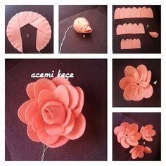 Rainbow's Crafts and Creations: How to Make Simple Felt Flowers Felt Flowers Patterns, Fabric Flowers, Paper Flowers, Different Flowers, Big Flowers, Brooches Handmade, Handmade Flowers, Felt Crafts, Diy And Crafts