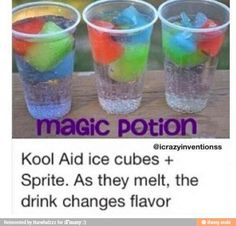Turn your favorite kool-aid flavors into a ice cube and taste them all in one drink as they melt. :)