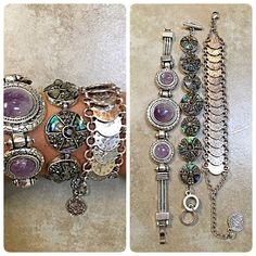 Stunning Native Bohemian style bracelet trio! #kfabdesigns #stunning #lavender ##native #bohemian #bracelettrio with #abalone stone set in #silvertone #oneleft can be sold separately Follow me on Instagram for more listings Jewelry Bracelets