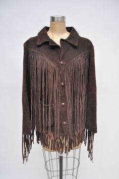 vintage leather jacket suede WESTERN fringe by goodbyeheartwoman