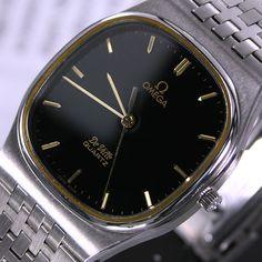 1980s Vintage Omega De Ville Cal 1336 13 Jewels Quartz Black Dial Men's Dress Watch by LKWatch on Etsy