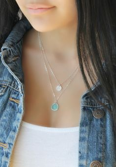 Sterling silver Layered Initial Necklace, aquamarine, sea-foam green, personalized stamped disc Double chain Letter, two 2 strands mint by potionumber9 on Etsy https://www.etsy.com/listing/190553669/sterling-silver-layered-initial-necklace