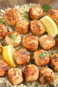 Carrot Meatballs With Mint Cauliflower Rice meatballs loaded with flavor. Paired with lemon mint cauliflower rice for a filling, low carb meal! Sugar Detox Recipes, 21 Day Sugar Detox, Sugar Detox Diet, Low Carb Recipes, Healthy Recipes, Free Recipes, Vegetarian Recipes, Sugar Cleanse, 21 Day Detox