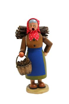 """The old lady is out to collect wood! Lady smokers are somewhat rare! - Handmade in Germany - Measures 8"""" tall - Feet can be removed to add incense cone These nutcrackers, smoking men (Räuchermann), an"""