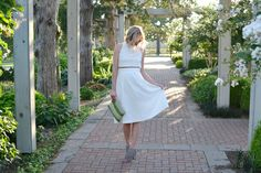LuLu*s white two-piece set, fringe heels, clutch, Raen sunglasses