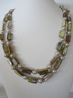 Light Yellow Mother of Pearl Double Strand Necklace by yasmi65, $35.00
