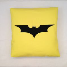 The Dark Knight - Yellow Batman Retro Superhero Cushion Pillow Cover Black Felt Applique Design Bedroom Decor by BeUniqueBaby on Etsy