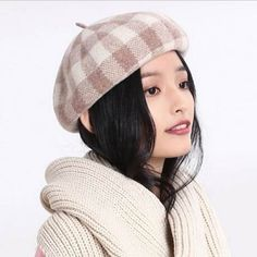 Fashion casual plaid beret hat for women travel shopping winter hats 1435a8f10d