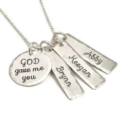 God Gave Me You Necklace  Sterling Silver Hand by StephieMc, $49.99