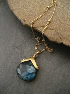 Labradorite necklace faceted labradorite blue flash by ElfiRoose