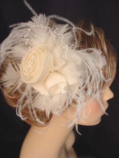 White Wedding Fascinator  Large Cabbage by FascinatingCreations, $58.95
