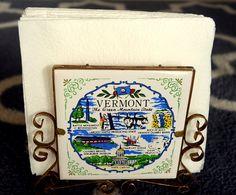 Mid Century Kitsch Souvenir Napkin Holder Vintage Vermont Retro Decor