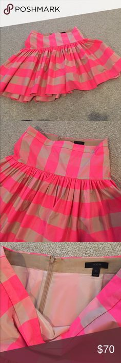 Jcrew plaid party skirt Euc worn once and dry cleaned. Skirt is full and gorgeous, lined. Back zip. J. Crew Skirts