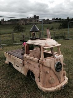 VW Bus Driftwood Storage Bench-Raw