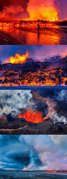 Fotos del volcán de Bardabunga que entra en erupción de Islandia.
