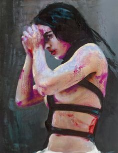 "Artist: Lita Cabellut ""Frida"" - impresionist painting"