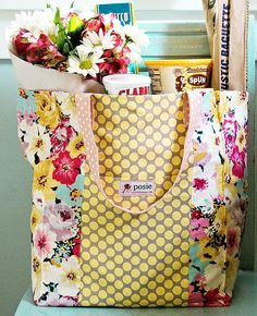 Market Bag Sewing Pattern - replace your store bought shopping bags for pretty ones!