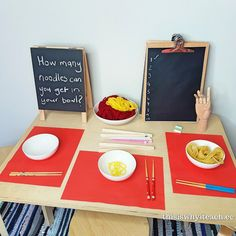 We have these items available all the time but this provocation invites counting the wool noodles and mark marking. This is part of our Lunar / Chinese New Year celebrations. The challenge to use chopsticks or tongs is also there. to plat Chinese New Year Crafts For Kids, Chinese New Year Activities, New Years Activities, Chinese New Year 2020, Happy Chinese New Year, Eyfs Activities, Nursery Activities, Kindergarten Activities, Preschool Crafts