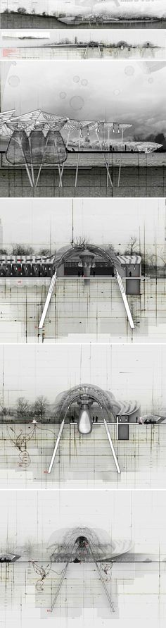 Paul Nicholls - Elevated Brood #architecture #design #drawing / http://www.factoryfifteen.com