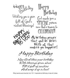 MSE-My Sentiments Exactly Clear Stamps. For all words you want to clearly stamp. Clear rubber stamps are economical, easy to position and store compactly. This package contains Inspirational Birthday: Happy Birthday Verses, Birthday Verses For Cards, Birthday Prayer, Birthday Card Sayings, Birthday Sentiments, Birthday Blessings, Happy Birthday Wishes, Birthday Greeting Cards, Birthday Quotes
