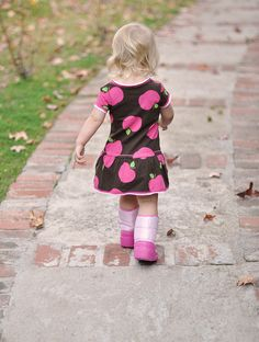 apple dress... pink moon boots by crocs