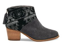 NEW Forged Iron Grey Suede and Tribal Wool Women's Leila Booties
