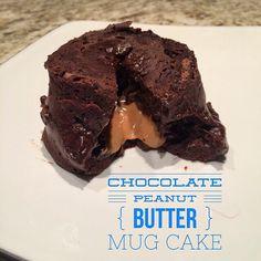 Chocolate Peanut Butter Mug Cake. Healthy recipe. 21 Day Fix approved. Shakeology. www.kirstatull.com