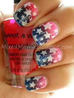 Jasmine, from Mixed Mama, used a nail stamp to create the flawless stars for her patriotic art!