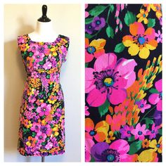 1960s Sleeveless Neon Floral Dress by TrueHeartVintage on Etsy