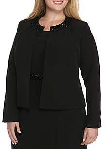 1158da976fc Kasper Plus Size Embellished Flyaway Jacket Plus Size Business